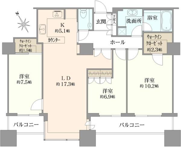 東京ツインパークスレフトウイングの間取図/37F/15,980万円/3LDK/102.98 m²