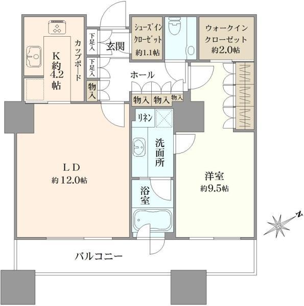 東京ツインパークスライトウイングの間取図/7F/9,880万円/1LDK/65.81 m²