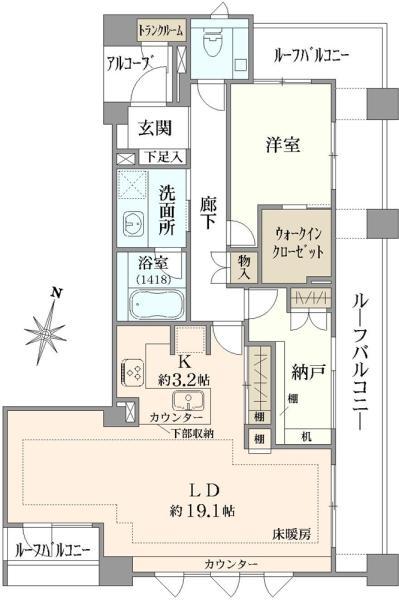 ブリリア外苑出羽坂の間取図/6F/9,180万円/1SLDK/77.88 m²