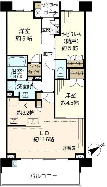 ブリリア狛江ファームガーデンの間取図/3F/4,730万円/2LDK/68.4 m²