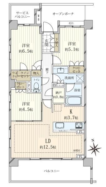 ブリリア浜田山の間取図/3F/7,590万円/3LDK/73.59 m²