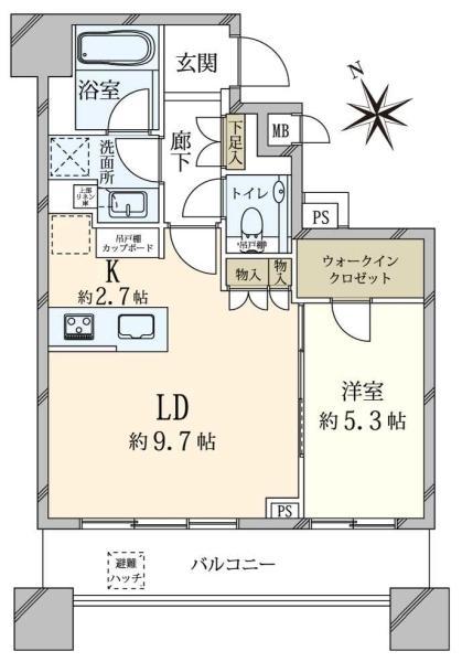 ブリリアタワーズ目黒 サウスレジデンスの間取図/9F/9,980万円/1LDK/45.97 m²