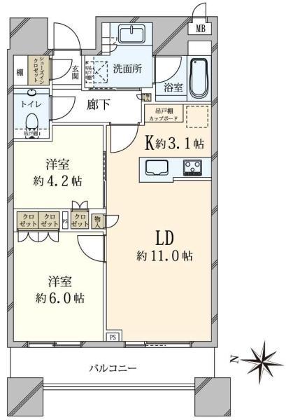 ブリリアタワーズ目黒ノースレジデンスの間取図/20F/12,000万円/2LDK/56.45 m²
