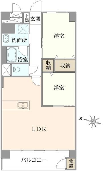 東建金町マンションの間取図/2F/2,180万円/2LDK/56.65 m²