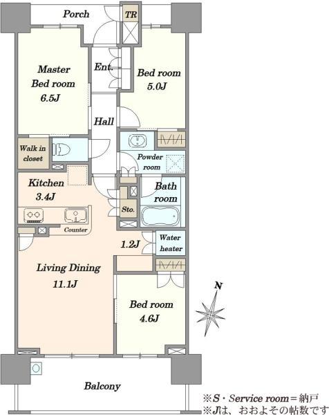 Brilliaレイクタウンパークサイドの間取図/6F/3,980万円/3LDK/72.43 m²