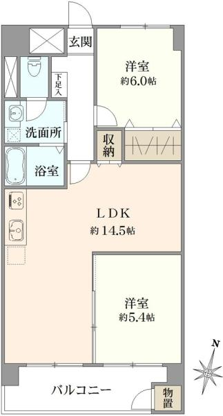 東建多摩川マンションの間取図/3F/1,850万円/2LDK/55 m²