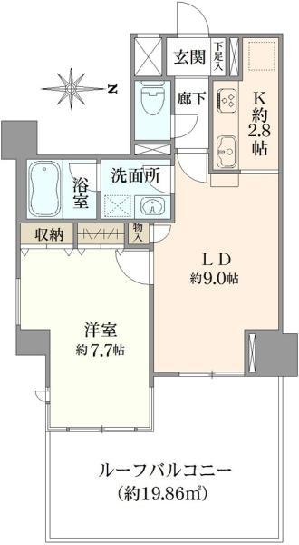 アールヴェール三鷹中央通りの間取図/3F/3,280万円/1LDK/45.61 m²