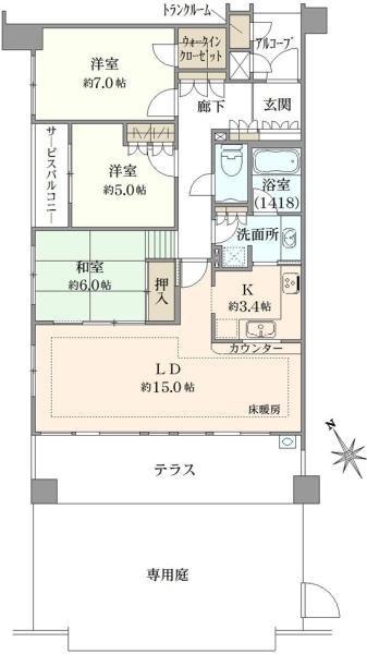 武蔵野レジデンシアの間取図/1F/7,000万円/3LDK/83.97 m²