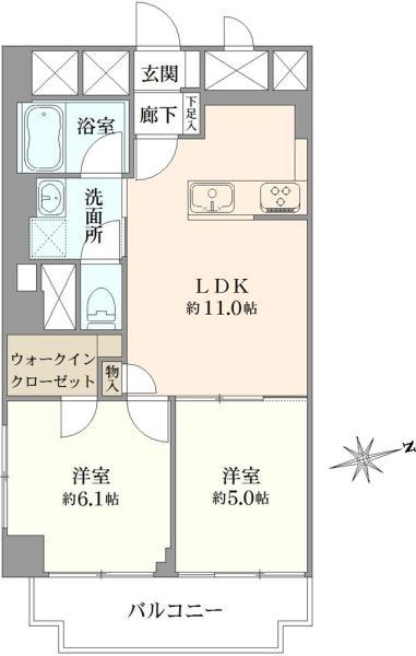 ニューハイツ大森の間取図/5F/3,290万円/2LDK/48.67 m²