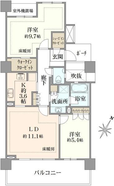 シエルズガーデン エールタワーの間取図/9F/4,980万円/2LDK/71.26 m²