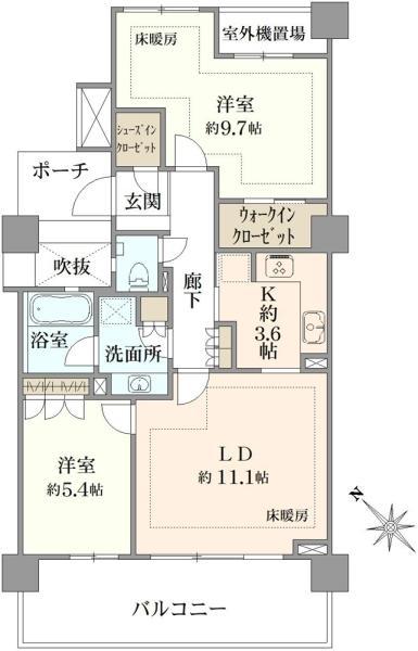 シエルズガーデン エールタワーの間取図/7F/4,980万円/2LDK/71.26 m²