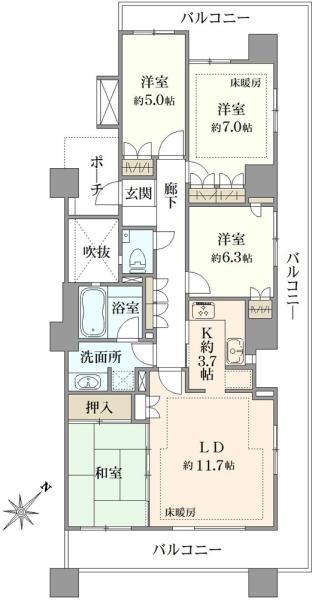 シエルズガーデン エールタワーの間取図/7F/6,280万円/4LDK/90.22 m²