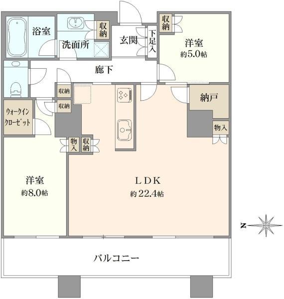 ブリリアタワー東京の間取図/38F/9,780万円/2LDK/85.77 m²