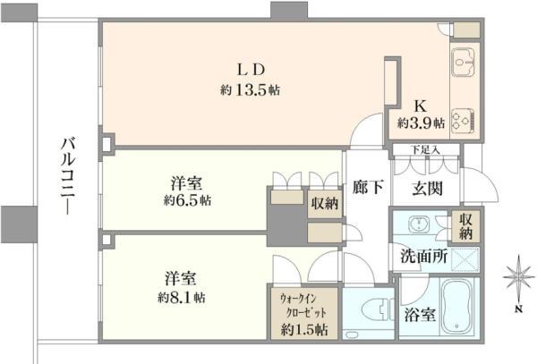 ブリリアタワー東京の間取図/21F/8,780万円/2LDK/73.53 m²