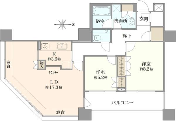 ブリリアタワー東京の間取図/26F/10,200万円/2LDK/82.49 m²