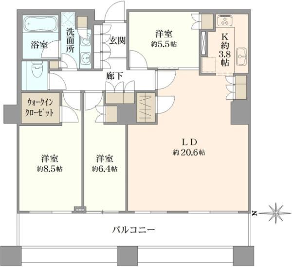 ブリリアタワー東京の間取図/37F/13,800万円/3LDK/101.29 m²