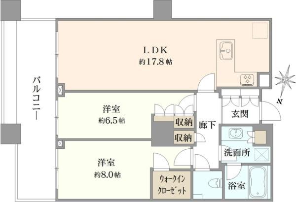 ブリリアタワー東京の間取図/21F/9,480万円/2LDK/73.53 m²
