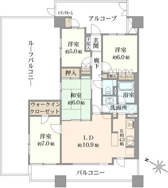 エスタガーデンの間取図/6F/8,200万円/4LDK/88.53 m²