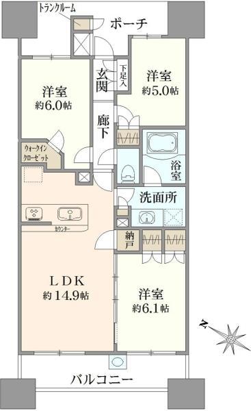 Brillia大島小松川公園の間取図/20F/4,480万円/3LDK/70.62 m²