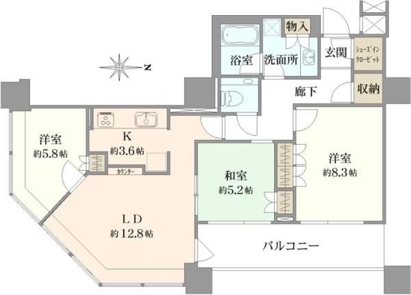 ブリリアタワー東京の間取図/30F/9,800万円/3LDK/82.49 m²