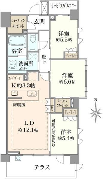 ブリリア久我山の間取図/1F/6,580万円/3LDK/76.43 m²