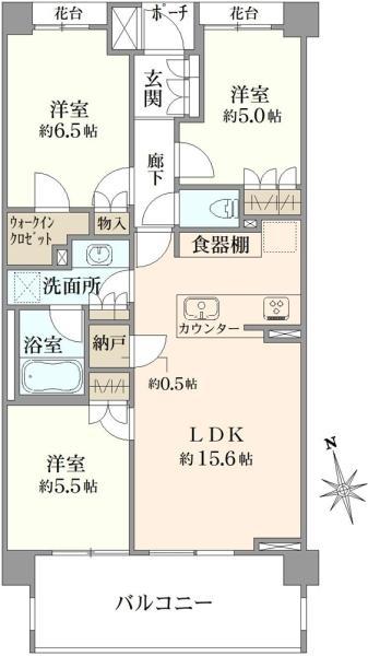 ブリリア浜田山の間取図/2F/7,180万円/3LDK/71.61 m²