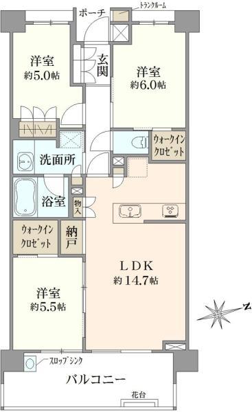 Brillia 狛江 Farm Gardenの間取図/3F/4,790万円/3LDK/71.42 m²