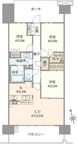 ブリリア多摩ニュータウンC棟の間取図/11F/3,950万円/3LDK/73.39 m²