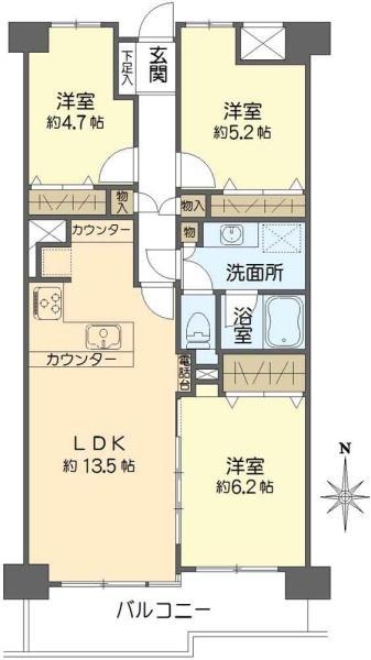 東建ニューハイツ戸塚の間取図/7F/1,990万円/3LDK/70.88 m²