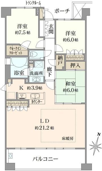 ブリリアアーブリオ戸塚の間取図/6F/3,480万円/3SLDK/97.8 m²