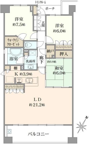 ブリリアアーブリオ戸塚の間取図/5F/3,180万円/3SLDK/97.8 m²
