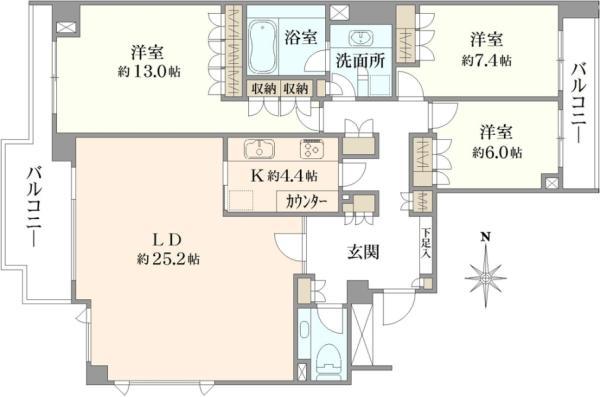 ブリリア小日向の間取図/2F/14,500万円/3LDK/129.25 m²