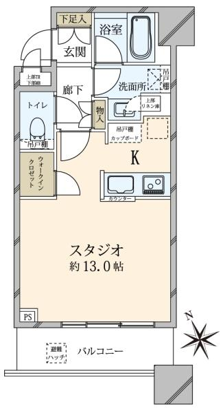 ブリリアタワーズ目黒サウスレジデンスの間取図/3F/7,380万円/1K/34.86 m²