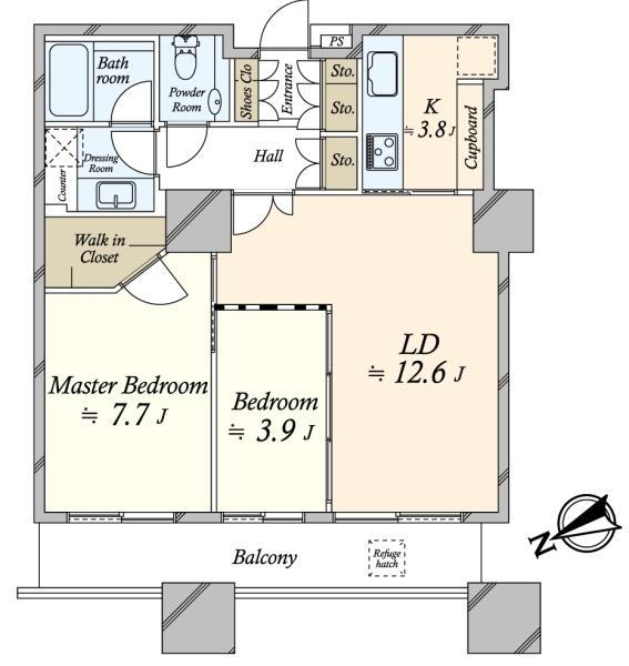 東京ツインパークスレフトウイングの間取図/11F/8,380万円/2LDK/65.59 m²
