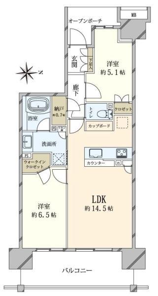 Brillia辰巳 CANAL TERRACEの間取図/7F/4,050万円/2SLDK/60.85 m²