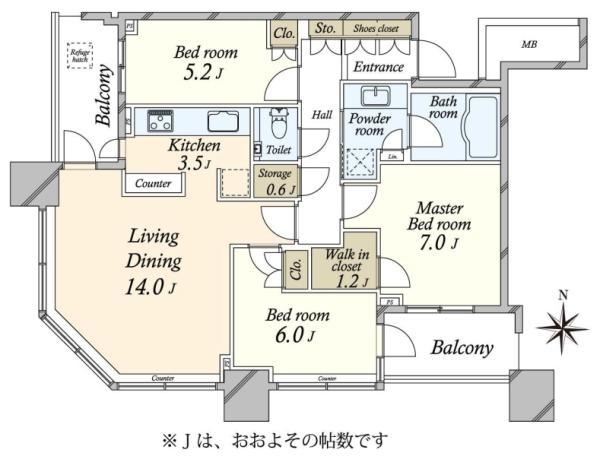 SKYZ TOWERGARDEN  スカイズ タワーガーデンの間取図/17F/8,980万円/3SLDK/81.71 m²