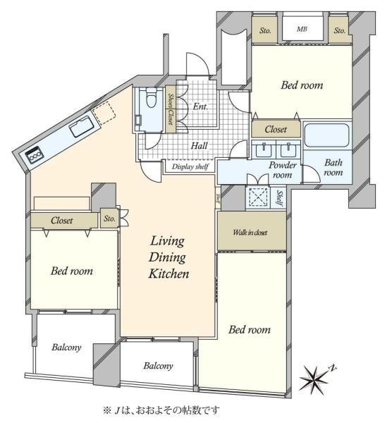 品川Vタワーの間取図/9F/14,800万円/3LDK/87.08 m²