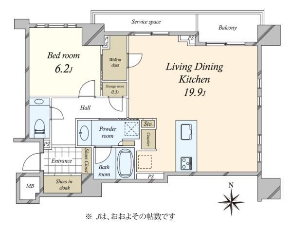 Brillia高輪 The Houseブリリア高輪ザ・ハウスの間取図/2F/11,980万円/2LDK/65.83 m²