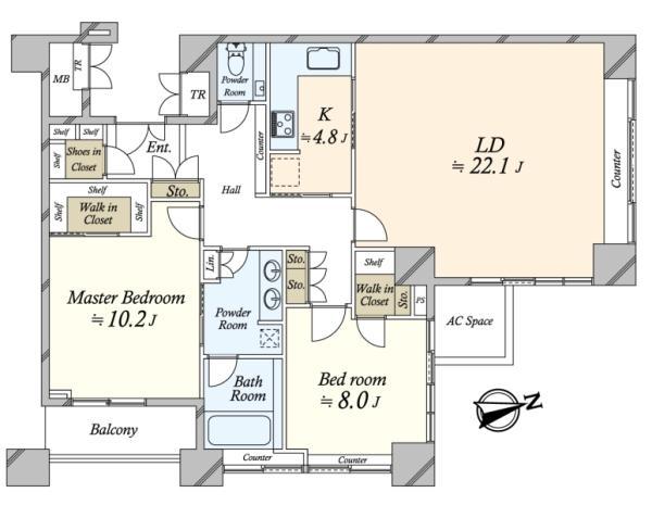 THE TOWERS DAIBA ザ・タワーズ台場の間取図/27F/12,900万円/2LDK/112.32 m²