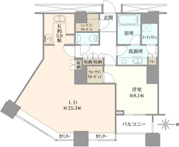 高輪ザ・レジデンスの間取図/36F/12,900万円/1LDK/92.1 m²
