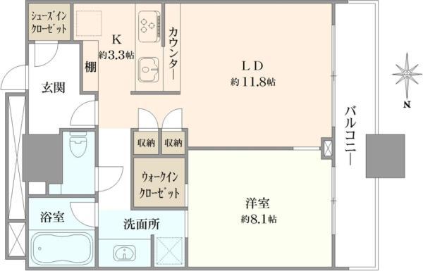ミッドサザン・レジデンス御殿山の間取図/12F/6,330万円/1LDK/55.22 m²
