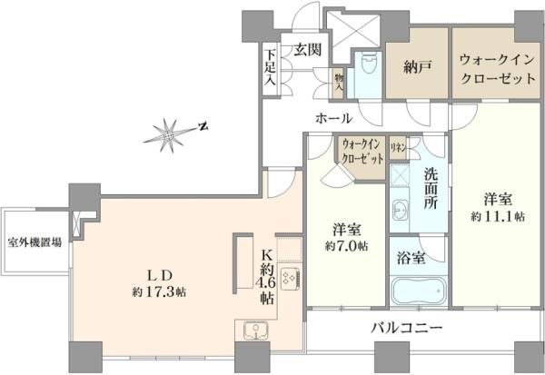 ザ・タワーズ台場の間取図/18F/10,800万円/2LDK/102.66 m²
