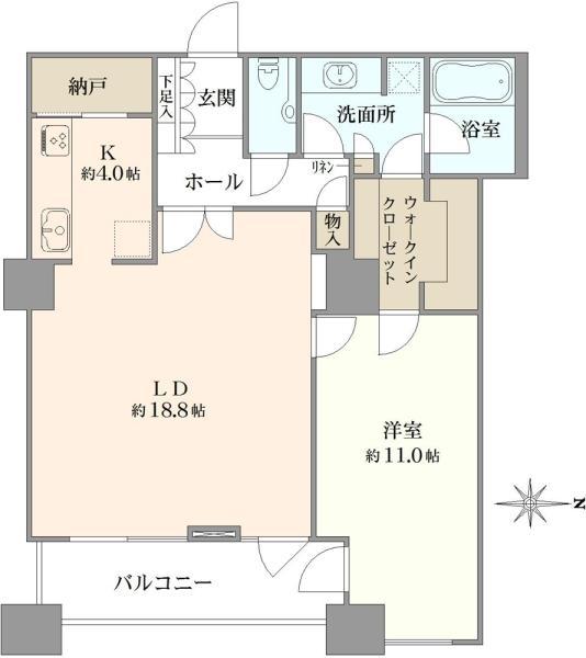 ラグナタワーの間取図/23F/6,800万円/1LDK/82.87 m²