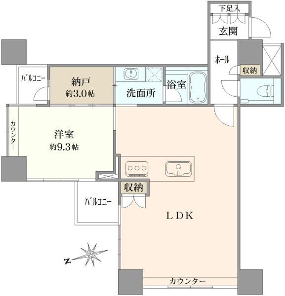 ザ・タワーズ台場の間取図/7F/8,800万円/1LDK/75.58 m²