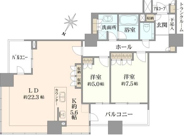Brillia Mare 有明 TOWERGARDENの間取図/27F/12,000万円/2LDK/93.1 m²