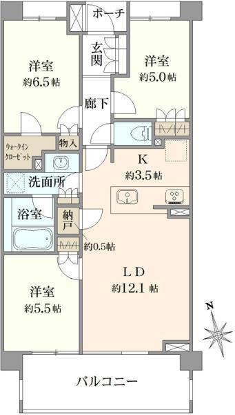 ブリリア浜田山の間取図/4F/7,680万円/3LDK/71.61 m²