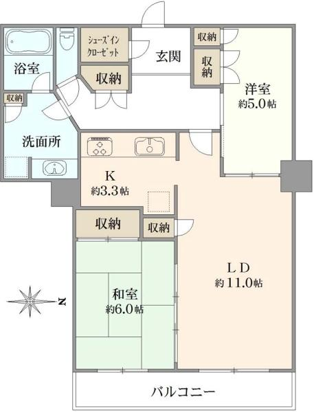ラグナタワーの間取図/2F/4,680万円/2LDK/62.28 m²