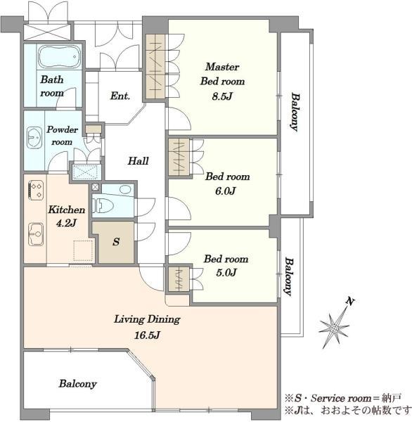グランヴェール弦巻の間取図/3F/7,380万円/3LDK/94.33 m²
