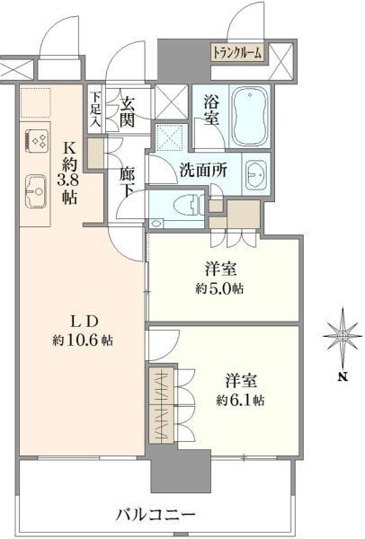 ザ・豊洲タワー THE TOYOSU TOWERの間取図/19F/5,480万円/2LDK/57.88 m²