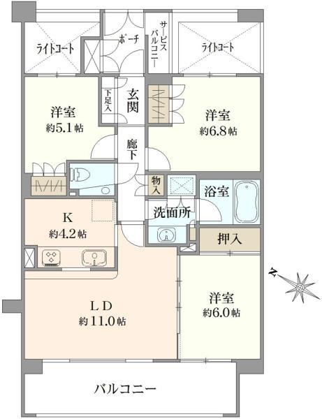 グランヴェール弦巻の間取図/2F/6,140万円/3LDK/73.32 m²